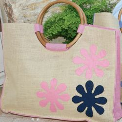 Woven Flower Tote Bag