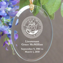 Personalized U.S. Navy Memorial Oval Glass Ornament