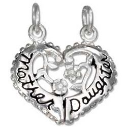 Sterling Silver Mother Daughter Heart Break Apart Charm