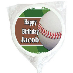 Personalized Baseball White Swirl Lollipops