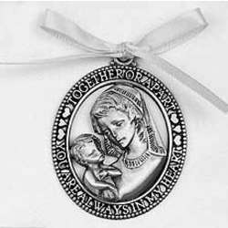 Mother and Child Crib Medal with White Ribbon