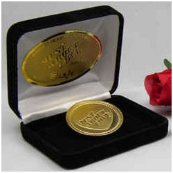 Classic Pocket Heart Love Coin Plated in 24kt Gold