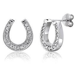 Sterling Silver CZ Lucky Horseshoe Stud Earrings