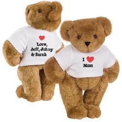 "15"" ""I Heart Mom"" Personalized T-Shirt Bear"