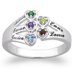 Sterling Silver Family Birthstone Hearts Name Ring