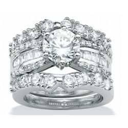 Platinum Over Sterling Silver Cubic Zirconia Wedding Ring