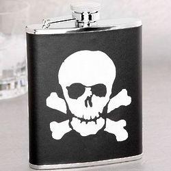 Skull & Bones Leather Flask