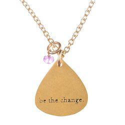 Be the Change Gold Dipped Mantra Charm Necklace
