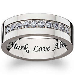 Titanium and Cubic Zirconia Engraved Channel Band