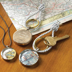 Engraved Map Pendant