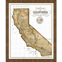 Old Map of California Framed Print
