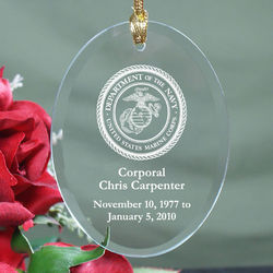 Personalized U.S. Marines Memorial Oval Glass Ornament