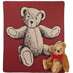 Bowtie Teddy Bear and Throw Blanket