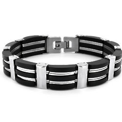 Stainless Steel Black Rubber Polished Bracelet