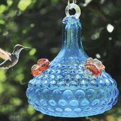 Hobnail Blue Glass Hummingbird Feeder