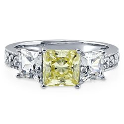 Sterling Silver Princess Canary Yellow CZ 3-Stone Ring