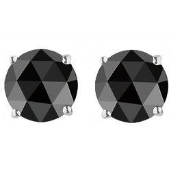 Round Rose Cut Black Diamond Stud Earrings