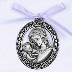 Mother and Child Crib Medal with Blue Ribbon
