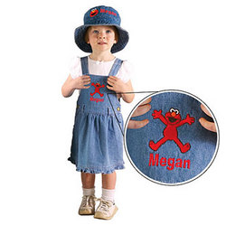Girl's Elmo Personalized Embroidered Denim Dress