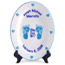 Personalized Oval Boys Birth Plate with Footprints