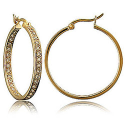 14K Gold Vermeil CZ Inside-Outside Hoop Earrings