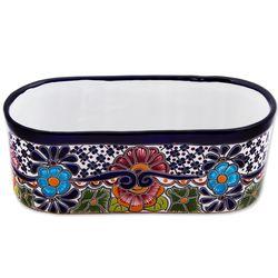 Pansies and Petunias Ceramic Flowerpot