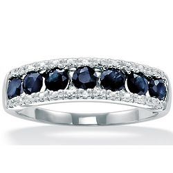 Blue Sapphire with Diamond Accents 10k White Gold Ring