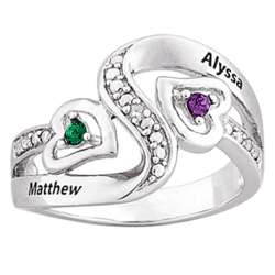 Personalized Couples Birthstone Ring