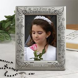 Personalized First Communion Pewter Picture Frame