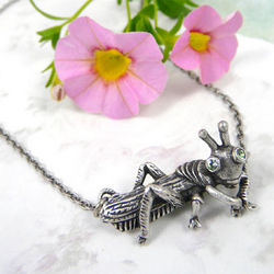Grasshopper Pewter Necklace