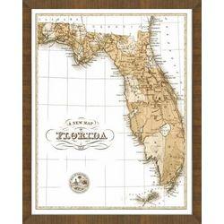 Old Map of Florida Framed Print