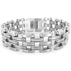 Men's Stainless Steel Wide Link Bracelet