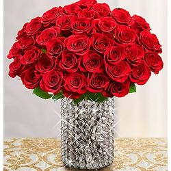 Diamonds and Rubies Bouquet with Crystal Vase