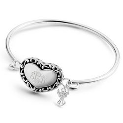 Heart and Angel Bracelet with Personalized Monogram