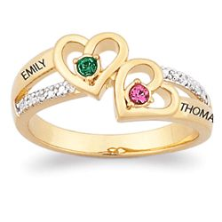 Personalized Couple's Birthstone Hearts Name Ring