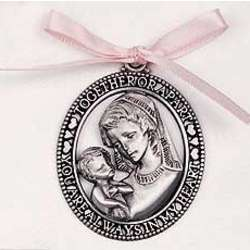 Mother and Child Crib Medal with Pink Ribbon