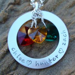 Personalized Family Circle of Love with Heart Birthstone Necklace