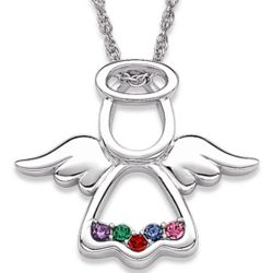 Sterling Silver Family Birthstone Angel Pendant