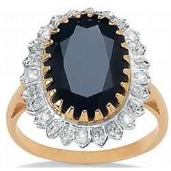 Midnight Blue Sapphire with Diamond Accents 10k Gold Ring