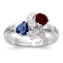 Sterling Silver Couple's Name & Heart Birthstones Ring
