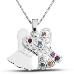 Sterling Birthstone Angel Necklace