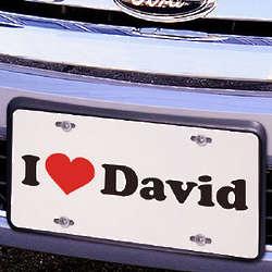 I Love License Plate