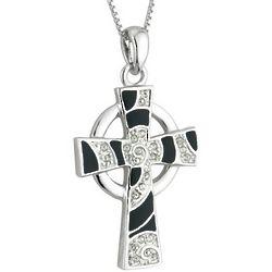 Crystal Spiral Celtic Cross Necklace