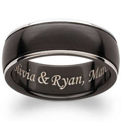Engraved Black Titanium Beveled Edge Band