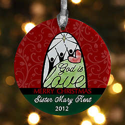 God is Love Personalized Christmas Ornament