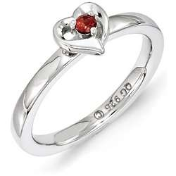 Sterling Silver Garnet Heart January Stack Ring