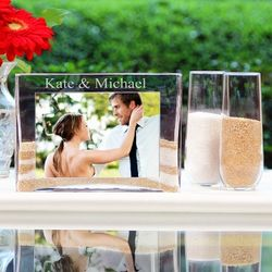 Engraved Sand Ceremony Unity Wedding Vase and Picture Frame
