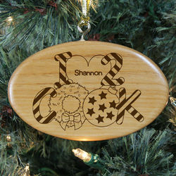 Engraved Heart to Cook Wood Oval Ornament
