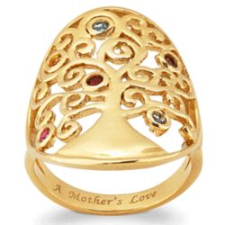 Gold-Plated Family Tree and Birthstone Ring
