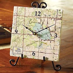 Personalized My Town Map Clock